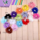 18COLORS,2.6INCH,Fashion Silk Lace Flower By 100% Handmade,Kids Boutique Hair Flowers Baby Girls DIY Hair Accessories,YDKM20
