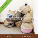 Popular Handmade Foldable Seagrass Basket / Custom hand woven round seagrass laundry basket