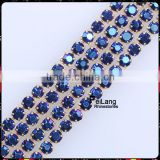 2mm Square rhinestone empty cup chain