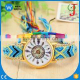 PW037 online shipping Colorful Braided Rope Quartz Watch Woven Belt Nylon Strap Women Geneva feather Watch