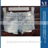 Ladies jeans fashionable sexy short with lace design