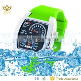 New OEM green silicone strap stainless steel Led digital watch women watch aviation watches