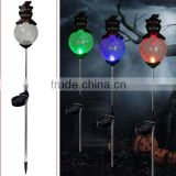 Halloween ornament black cat with color changing crackle glass ball yard stake solar lamp