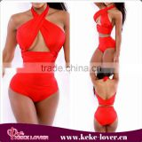 YH7047 New fashion wholesale two pieces high waist swimwear bandage summer bikini sets cheap sexy mature bikini set red
