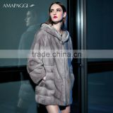 Factory OEM real natural sapphire mink fur coat with hood wholesale