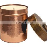 copper votive cap with lid on it hammered votive T-light Holder