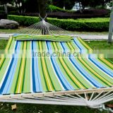 "Outsunny 74"" x 55"" Double Wide Outdoor Patio Cotton Hammock Swing Bed w/ Pillow - Green / Blue"
