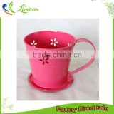 chinese vintage home decor square round rose pink blue and white tea cup planter for flower planting