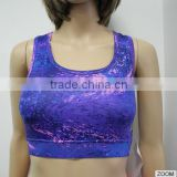 Anti-Shrink Breathable 86% Polyester 14%Spandex 180gsm Women Sport Bra