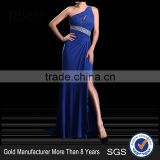 MGOO Cheap Evening Dress OEM Services Navy Blue One Shoulder Crystal Beaded Women Dress Party Cocktail Dress