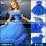 2015 OEM Service Kids Girls Cinderella Butterfly Blue Princess Girl Party Dresses Cosplay Costume Cinderella Lace Dress