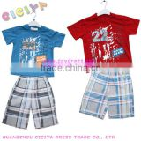 Boys fashion summer check pajamas set design short sleeve tshirt and grid bermuda pajamas