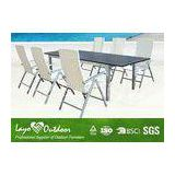 Outdoor Dinner Table Rattan Patio Furniture Set Alum Slat Frame American Garden And Bench Style