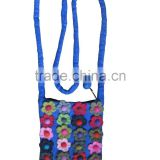 Beauty full flower design felted mobile bag/ Nepal hand made felt wool bag/ hot selling 2017 ladies shoulder bag