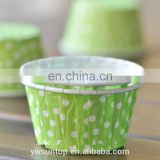 green paper mini cake cup with White Polka Dot design bake cup/ muffin cases birthday wedding party decoration favors supplies