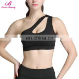 Fashion Black Motion Control Sunny Bra Pad One Shoulder Sports Bra Top