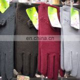 Winter lady polyester wool felt gloves