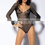 Sexy body teddy lingerie long sleeve leopard nylon bodystockings sexy micro teddy lingerie