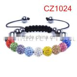 Colorful Crystal Clay Disco Ball Bracelet