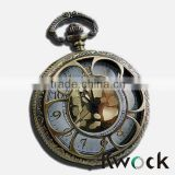 Bronze Case White Dial with Chain Half Hunter Neo Vintage Steampunk Design Cosplay Pocket Watch