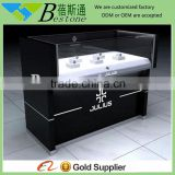 Countertop glass wood wrist watch store display case and stand with led light