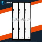 6 Door White Color Steel School Locker Lock With Handle Stainless Steel Color Locker Cabinet /Wordrobe
