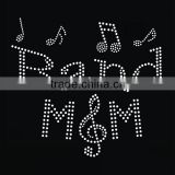 Custom music design with band mom letters hotfix rhinestone transfer, rhinestone motif, music transfers