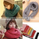 Wholesale Fashion Plain Solid Color Wool Circle Loop Infinity Women Knitted Scarf
