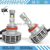 Five color 3000k 4300k 6500k 8000k 10000k High power aluminum led h9 headlight single beam with strong dissipation