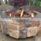 Octagonal Stacked Stone Outdoor Gas Fire Pit Burner
