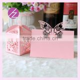 Free logo free sample laser cut customizable style beautiful butterfly wedding favor candy box and wedding favors seat card ZH-6