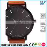 The classic timepieces matte black brushed steel case japan original movement tan leather australian designed watches