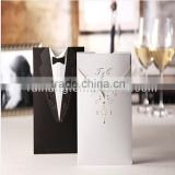 Personalized & romantic black and white bride & groom laser cut folded wedding invitations