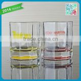 2015 Promotional Unique Design OEM Branded Hot Lead Free Liquor Glasse. Square Shot Glass square outside circle inside