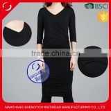Custom wholesale plain black v-neck maternity dresses