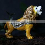 Hot selling wholesale price enameled pewter trinket box animal lion jewelry box good quality