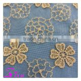 High-end fashion sequin French Lace Fabric High Quality African Tulle Embroidered flower transparent