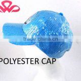 WL-144 100%Polyester applique beads blue kid shimmer polyester sports cap