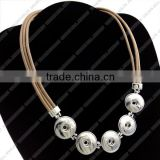 LJ0136 diy snap button necklace jewelry,madam jewellery leather necklace,alloy & brass jewelry