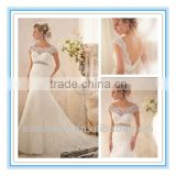 2014 New Fashion Lace Appliques and Wide Hemline on Net with Crystal Beaded Empire Wedding Gowns for Sale (WDBG-2620)