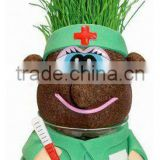 home decorations grass growing toy, cheap desktop promotional gift grass head dolls