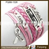 Newest design fashion vintage pink leather initial faith believe hope religious handmade bracelet