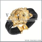Gold stainless steel skull badge with genuine leather bangle for men