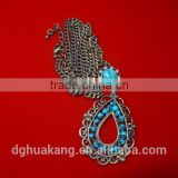 blue emerald bead buddhist oval pendant alloy necklace zircon tiny charm