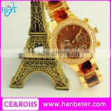 Gold plating 18k watch for stainless steel back geneva quartz watches