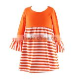 Hot kids blank dress halloween baby clothes cotton knit frock design girls dresses orange striped little girls dress Halloween