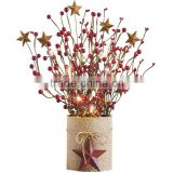 Beautiful decoration berry branches table centerpiece led vase