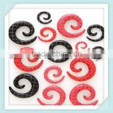 UV Acrylic checkered pattern heat print spiral ear plug piercing body jewelry