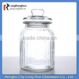 LongRun 32oz hot sales in europe Charming Vintage-Style Ribbed Glass Jar Glassware wholesales