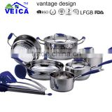 new design stainless steel kitchen items/cookware set with multi steamer and utensils/induction bottom pots